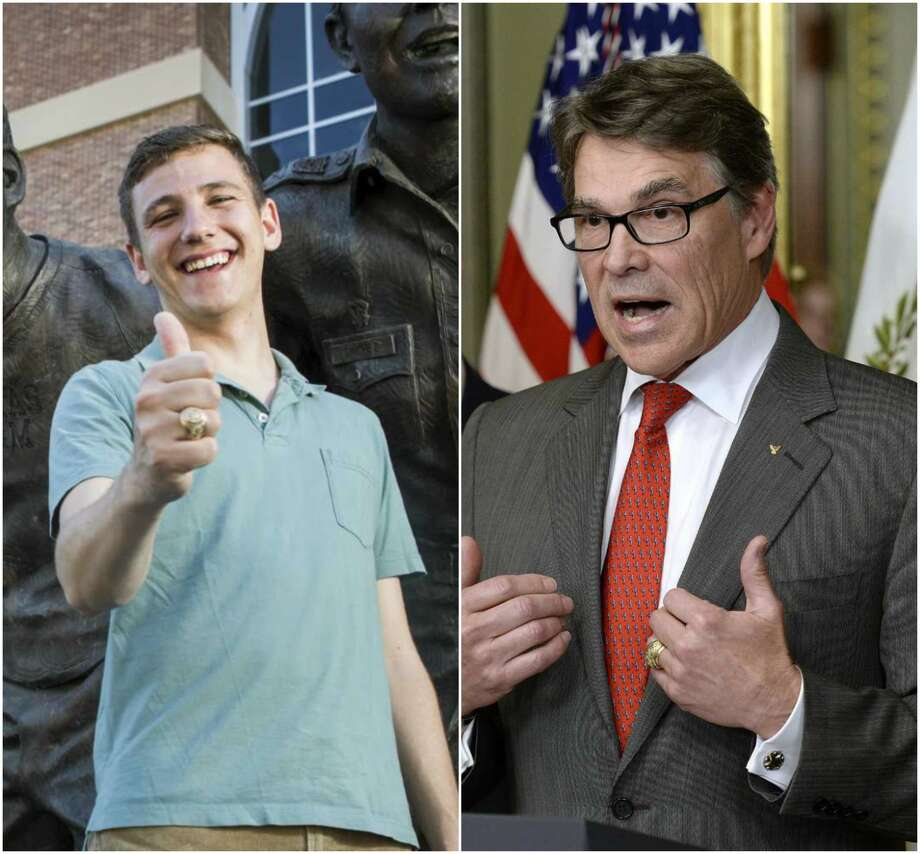 Left: Texas A&M's newly elected student body president Bobby Brooks, a  junior from Belton, Texas, poses for a portrait in front of the War Hymn  Monument on Monday, March 20, 2017, in College Station.Right: Rick Perry speaks after being sworn in as secretary of energy earlier this month.