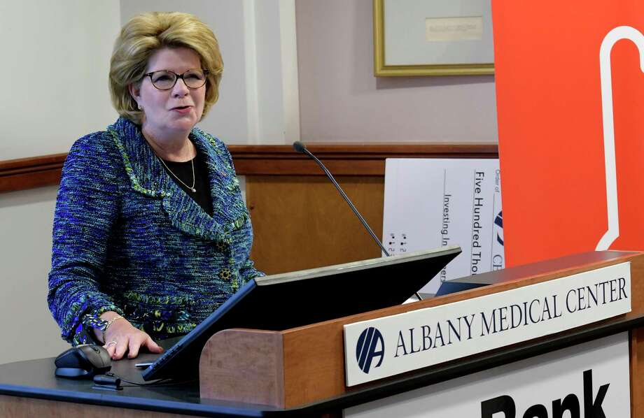 Chairman and CEO of Key Bank, Beth Mooney addresses the gathering at the Albany Medical Center as she presents them with a grant of $500,000 as an reaffirmation of Key Bank's commitment to the Capital Region  Wednesday March 22, 2017 in Albany, N.Y. (Skip Dickstein/Times Union) Photo: SKIP DICKSTEIN / 20040021A