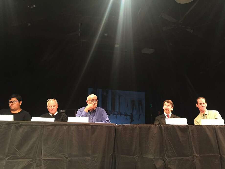 "Amy Lizardo, Michael Ferguson, Mujahid Abdul Rashid, Michael Ray Wisely, and Robert Parsons in the 2016 ""SCOTUS Theater Live."" Photo: Lisa Stern"