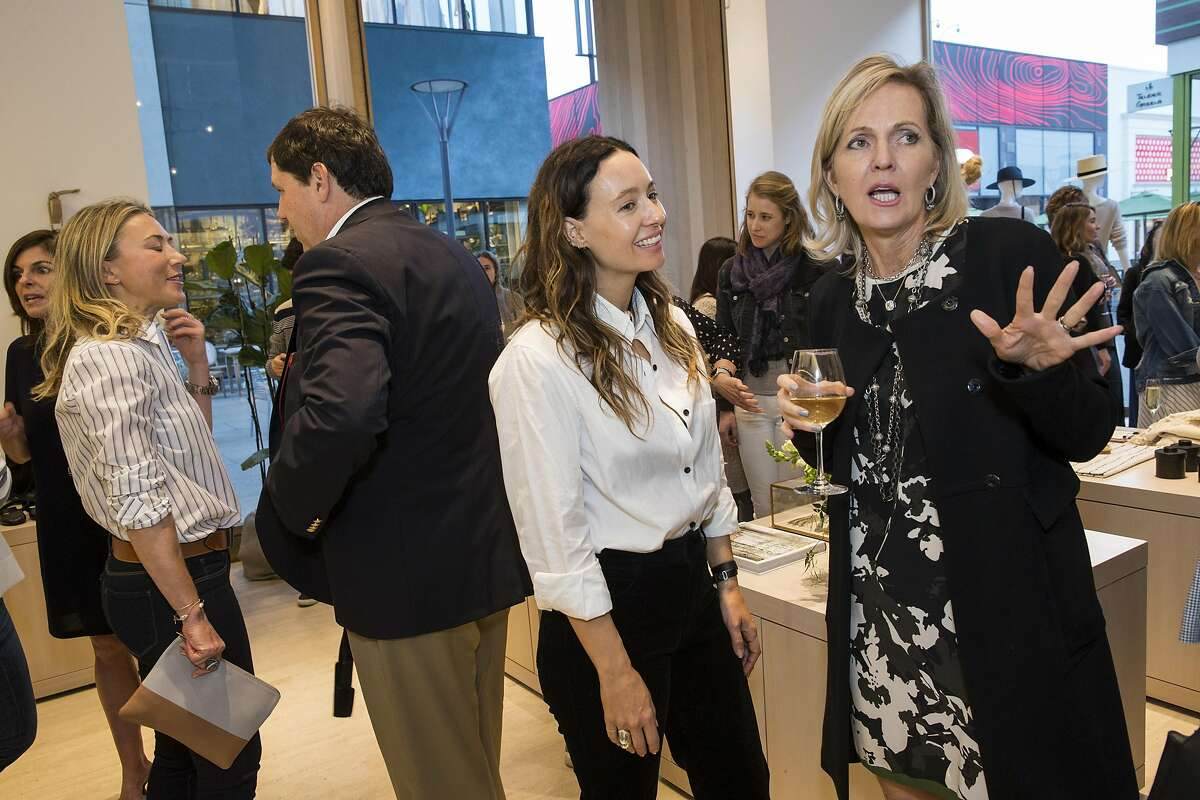 Jenni Kayne (center) talks with Linnea Roberts (right) during an event at the Jenni Kayne store at Stanford Shopping Center in Palo Alto, Calif., on Tuesday, March 21, 2017. The party was a benefit for the diabetes organization Beyond Type 1.