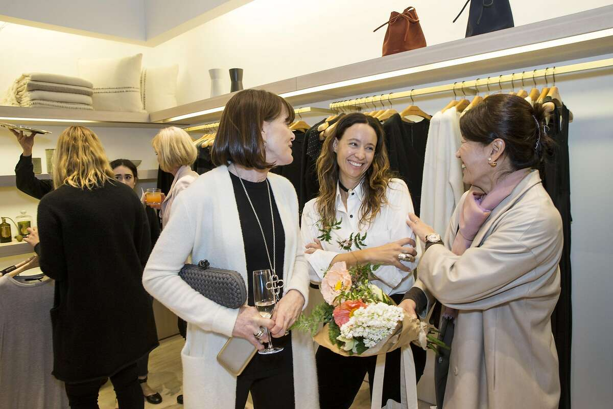 Allison Speer, Jenni Kayne and Akiko Yamazaki (left to right) talk with one another during an event at the Jenni Kayne store at Stanford Shopping Center in Palo Alto, Calif., on Tuesday, March 21, 2017. The party was a benefit for the diabetes organization Beyond Type 1.
