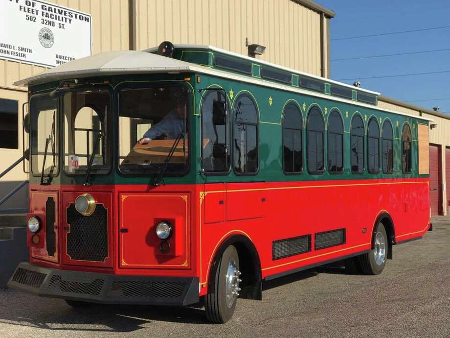 Trolley-like buses are coming to Galveston in mid-May, 2017.&gt