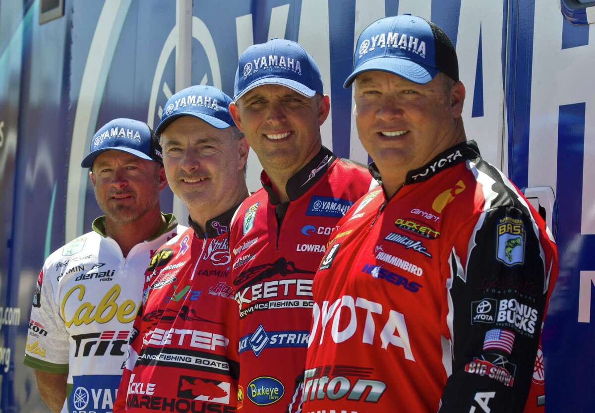 Anglers Jeff Kriet (from left), Mark Menendez, Marty Robinson and Terry Schroggins will compete along with 48 other professional fishermen on Lake Conroe in the Bassmaster Classic on Friday through Sunday.