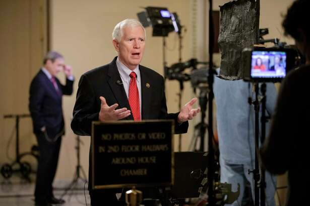 Rep. Mo Brooks, R-Ala., a member of the conservative Freedom Caucus responds during a TV interview on Capitol Hill in Washington, Thursday, March 23, 2017, as recalcitrant GOP lawmakers are being urged by House Speaker Paul Ryan to support the Republican health care bill when it goes to the floor for debate and a vote.