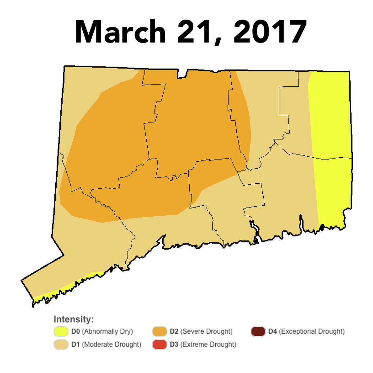 U.S. Drought Monitor released on Thursday, March 23, 2017, a map showing improved drought conditions across Connecticut. Scroll ahead for a month-by-month look at the drought in Connecticut.