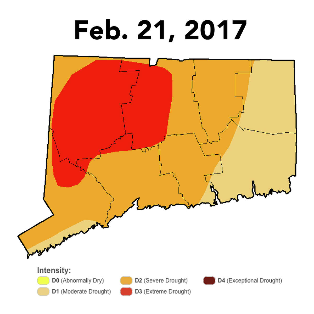 Monthly drought intenstiy in Connecticut