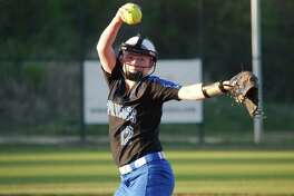Clear Springs' Kaylee Thomas (12) pitches against Friendswood Tuesday, Mar. 21 at Clear Springs High School.