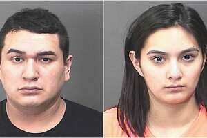 Baytown police say that Yonatan Vasquez, 23 (left), and Verenice Moran, 18, (right) left a one-year-old and a three-month-old in a running Ford pickup truck while they shopped inside just after midnight on Monday morning. Police say they were inside the store for nearly an hour.