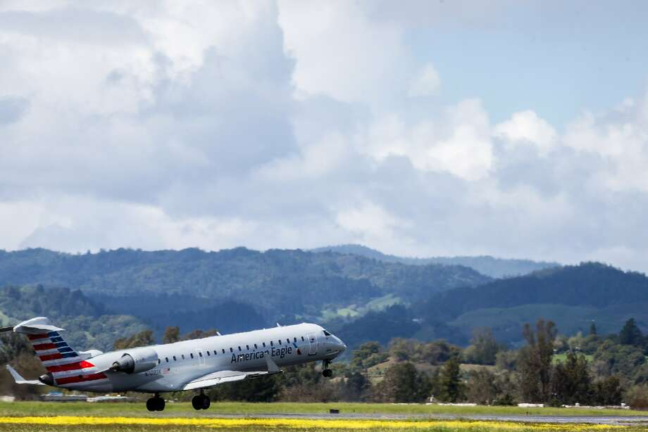 An American Airlines plane departs to Phoenix from the Charles M. Schulz Sonoma County Airport in March. The airport remained closed Tuesday. Photo: Santiago Mejia, The Chronicle