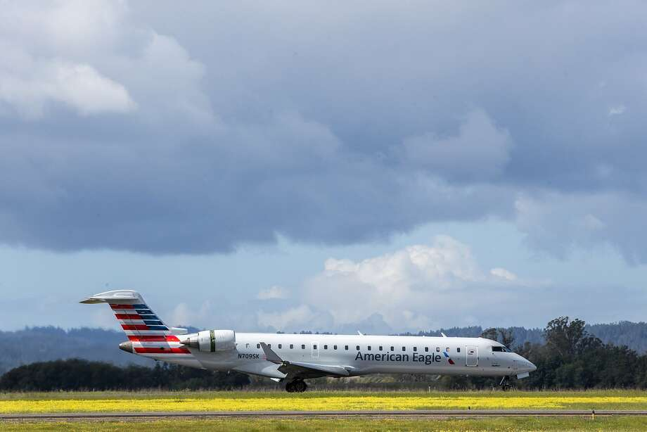 An American Airlines plane arrives from Phoenix to the Charles M. Schulz Sonoma County Airport in Santa Rosa in March. Allegiant dropped service to Phoenix after American's announcement. Photo: Santiago Mejia, The Chronicle