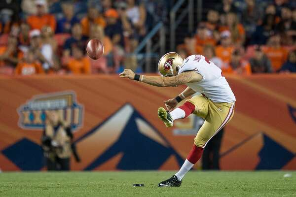 DENVER, CO - AUGUST 20:  Kicker John Lunsford #3 of the San Francisco 49ers kicks off against the Denver Broncos during a preseason NFL game at Sports Authority Field at Mile High on August 20, 2016 in Denver, Colorado. (Photo by Dustin Bradford/Getty Images)