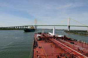 Houston Pilots Captain Kristi Taylor pilots the oil tanker Pamisos through the Houston Ship Channel in Galveston Bay Jan. 3, 2017, in Houston. ( James Nielsen / Houston Chronicle )