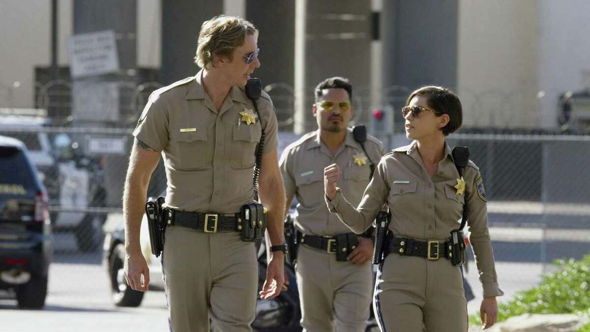 Dax Shepard (left), Michael Pena and Rosa Salazar are ready to hit the road in a scene from