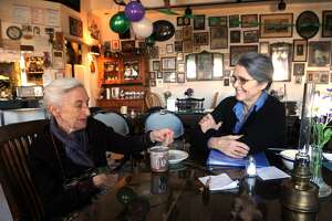 Selma Miriam and Noel Furie, owners of Bloodroot, a feminist restaurant and bookstore in Bridgeport, Conn. March 22, 2017. Bloodroot is celebrating their 40th anniversary.