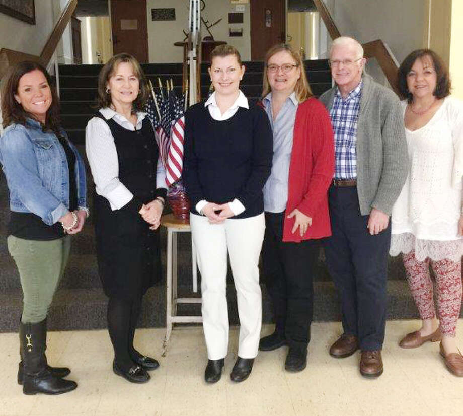 Nicole Klein is sworn in as Westport's deputy democratic registrar of voters on March 21. From left: Assistant Town Clerk Colleen Tarpey, Town Clerk Patty Strauss, Deputy Registrar Nicole Klein, Registrar Marla Cowden, Registrar Kevin White  and Deputy Town Clerk Ruth Cavayero. Photo: Contributed, Contributed Photo / Westport News
