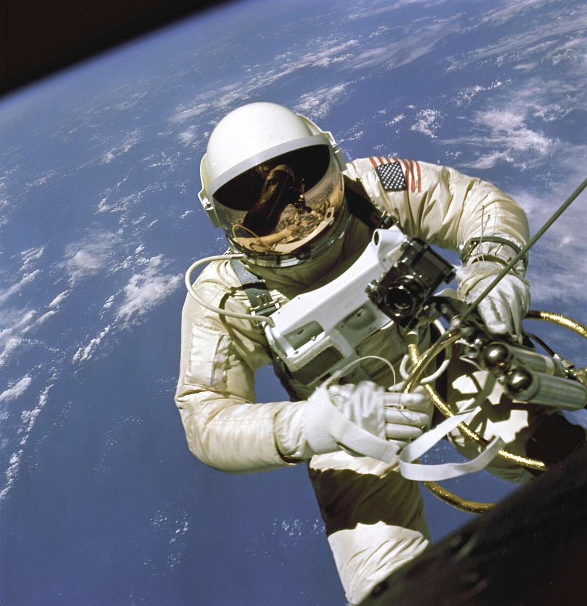 Ed White, the first American astronaut to walk in space, is seen during the Gemini 4 mission in 1965.