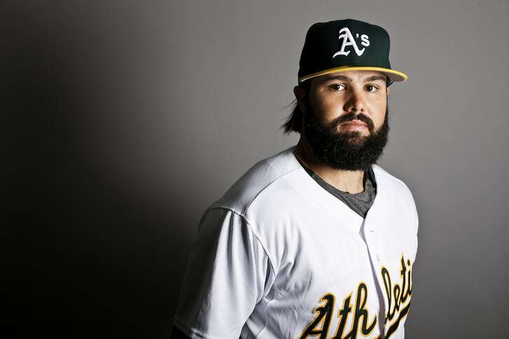 This is a 2017 photo of left fielder Jaff Decker of the Oakland Athletics baseball team poses for a portrait. This image reflects the Athletics active roster as of Wednesday, Feb. 22, 2017, when this image was taken. (AP Photo/Chris Carlson)