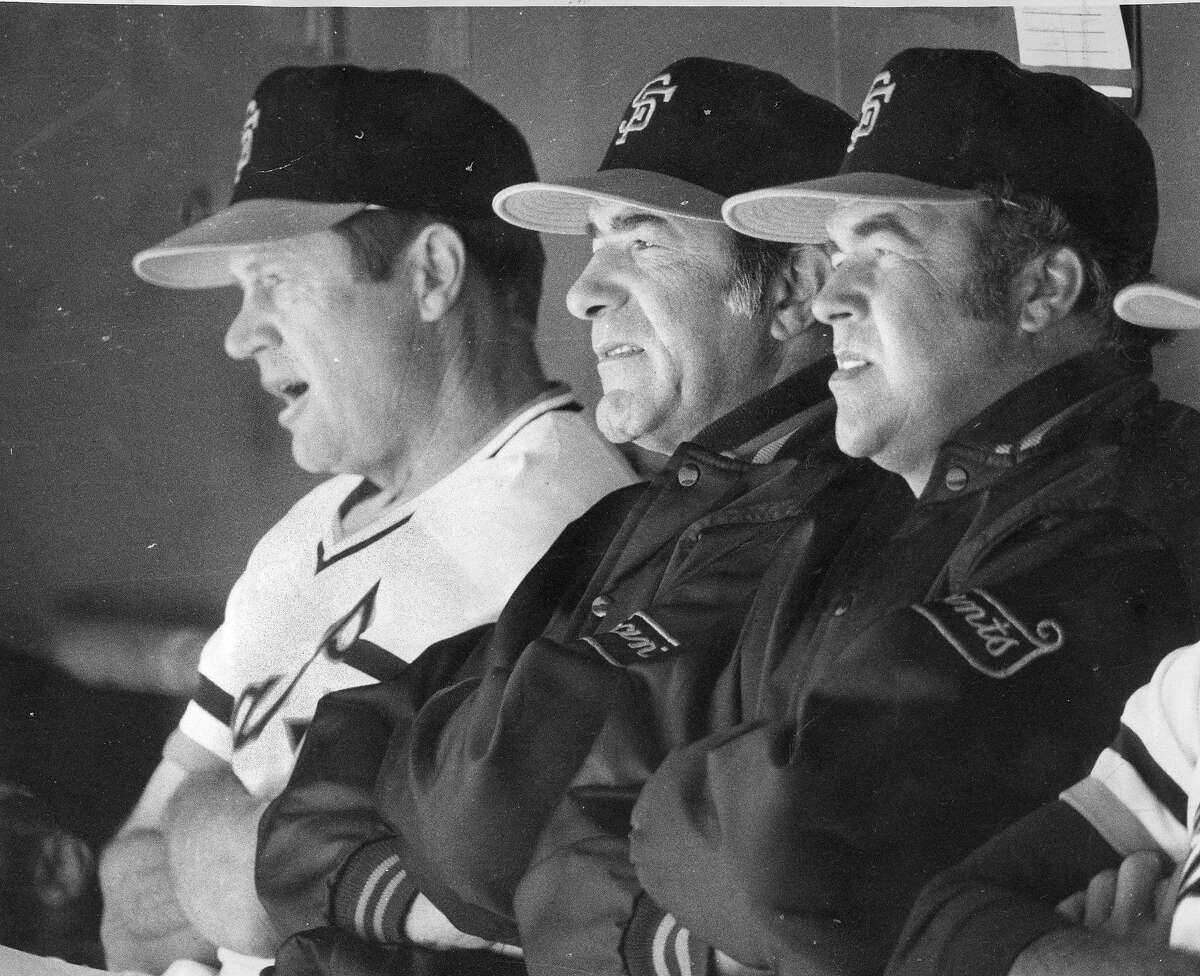 Manager Joe Altobelli sits between coaches Bobby Winkles and Herm Starrette at the 1977 San Francisco Giants opening day, at Candlestick Park, April15, 1977 Photo ran April 16, 1977, p. 41