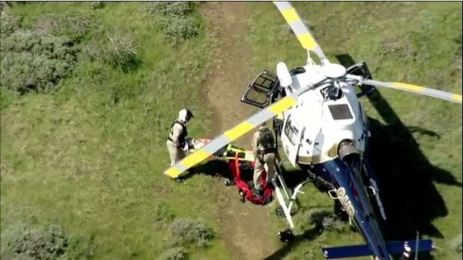 The California Highway Patrol and Marin County Sheriff's Office worked to rescue a man whose car plunged down a steep embankment Thursday in the Marin Headlands of the Golden Gate National Recreation Area. Photo: KTVU