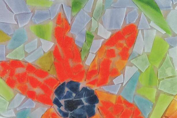 A stained glass flower piece created at the Edwardsville Arts Center.