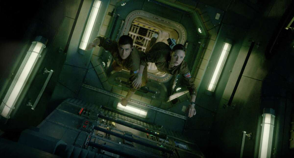 """Jake Gyllenhaal and Rebecca Ferguson float through the space station in """"Life."""""""