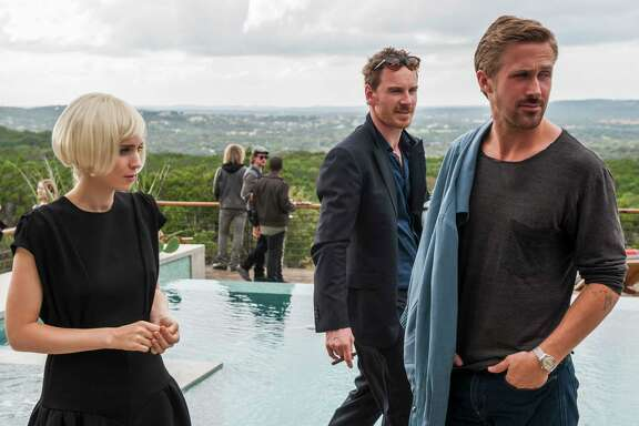 "Rooney Mara, from left, Michael Fassbender and Ryan Gosling star in ""Song to Song."""