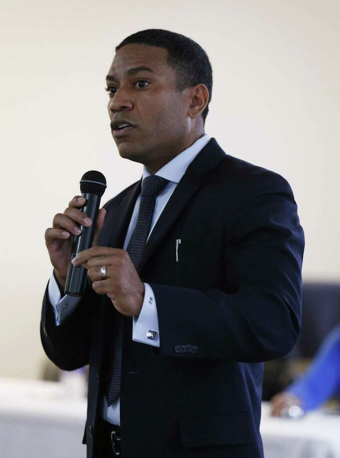 """William """"Cruz"""" Shaw addresses an audience gathered at Second Baptist Church for a meeting with District 2 candidates on Friday, Mar. 10, 2017. The San Antonio District 2 City Council race, features four candidates: incumbent Alan Warrick and challengers William """"Cruz"""" Shaw, Dori Brown and Keith Toney. Toney briefly held the seat, after he was appointed to fill a vacancy; he twice lost to Warrick in races to permanently fill the position. Shaw was the zoning commission representing District 2, but Warrick pushed for Shaw to resign after it became clear Shaw planned to challenge him for the council seat. Brown has said Warrick replaced her on the city's MLK Commission. Warrick, who is serving his first full term, has been dogged by rumors about alcohol use; many feel he has been more focused on transforming the neighborhood rather than connecting to the current residents. (Kin Man Hui/San Antonio Express-News) Photo: Kin Man Hui, Staff / San Antonio Express-News / ©2017 San Antonio Express-News"""