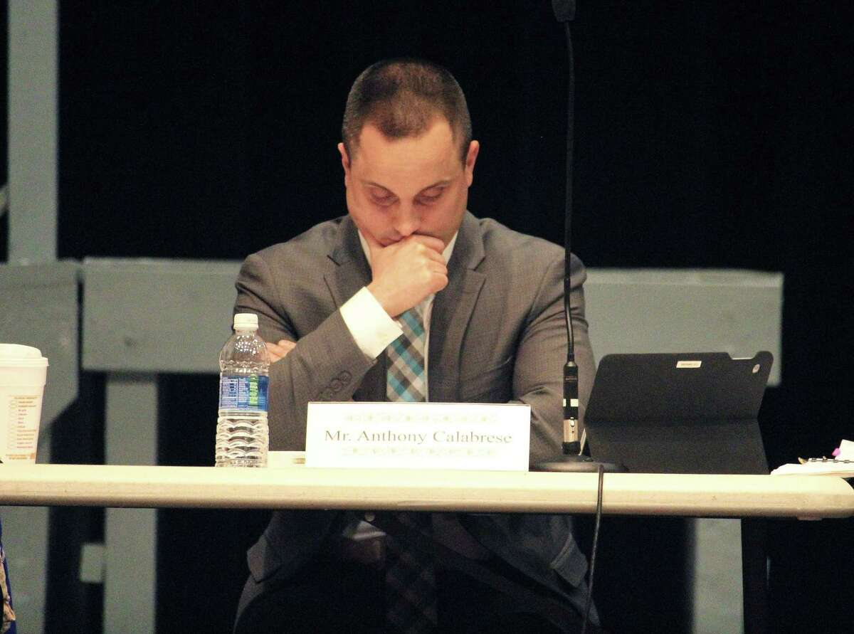Vice Chairman Anthony Calabrese listens as the Board of Education discusses possible budget cuts for its 2017-18 budget on March 16, 2017 during a special meeting at Roger Ludlowe Middle School in Fairfield, Conn.