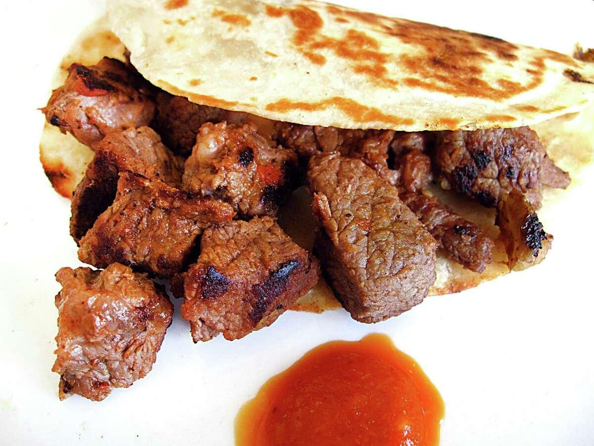 Beef norteño taco on a handmade flour tortilla from Vida Mia.
