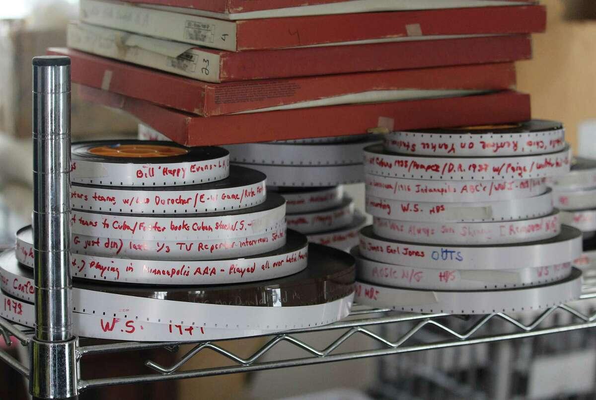 Reels of film inside documentarian Craig Davidson's Westport home on March 21.