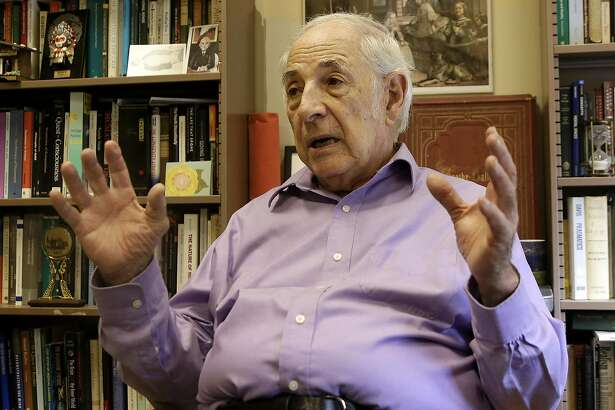 """University of California, Berkeley Professor John Searle gestures while interviewed in Berkeley, Calif., Thursday, Feb. 2, 2017. The University of California, Berkeley has become a campus renowned for peace and openness where all viewpoints are welcome. It was anything but that on Wednesday night when violence and rioting forced the cancellation of a talk by right-wing provacateur Milo Yiannopoulos. A spokesman for the campus said it was """"not a proud night"""" for the birthplace of the Free Speech Movement. (AP Photo/Jeff Chiu)"""