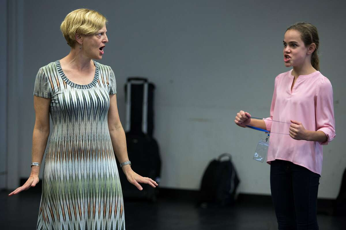 """From left: Carey Perloff directs Carmen Steele during rehearsal at the American Conservatory Theater on Sunday, Oct. 9, 2016 in San Francisco, California. Tom Stoppard's new play """"The Hard Problem,"""" directed by Perloff, makes its American premiere at A.C.T., later this month. Steele is an actor in the play."""
