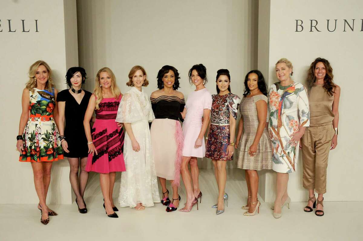 From left: Honorees Jana Arnoldy, Carrie Brandsberg-Dahl, Mary D'Andrea, Carolyn Dorros, Gina Gaston Elie, Jessica Rossman, Sneha Merchant, CleRenda McGrady, Carol Linn and Lisa Holthouse at the 35th annual Houston Chronicle Best Dressed Luncheon and Neiman Marcus Fashion Show at the Marriott Marquis Hotel Thursday March 23,2017. (Dave Rossman Photo)