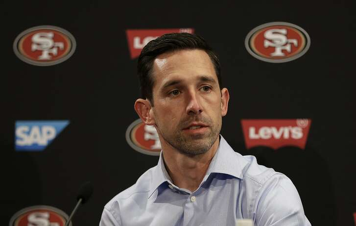 San Francisco 49ers head coach Kyle Shanahan answers questions from reporters during a media conference Friday, March 10, 2017, in Santa Clara, Calif. (AP Photo/Ben Margot)