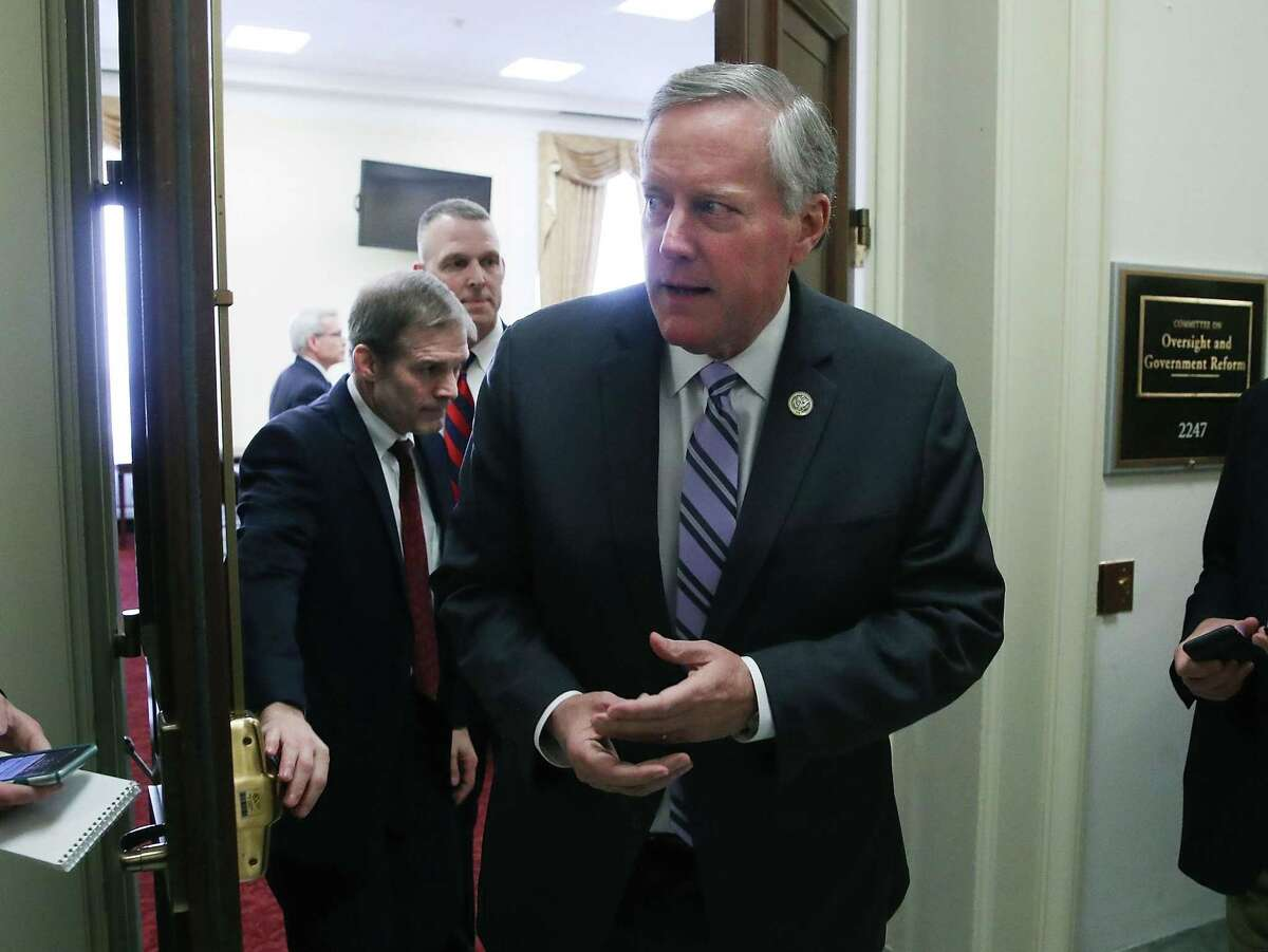 WASHINGTON, DC - MARCH 23: Chairman of the House Freedom Caucus Mark Meadows (R-NC)(R) and Rep. Jim Jordan (R-OH) (L) come out of a closed door meeting with other members, on Capitol Hill March 23, 2017 in Washington, DC. Earlier in the day members of the Freedom Caucus met with President Trump at the White House regarding issues related to repealing and replacing the Affordable Care Act or Obamacare. (Photo by Mark Wilson/Getty Images)