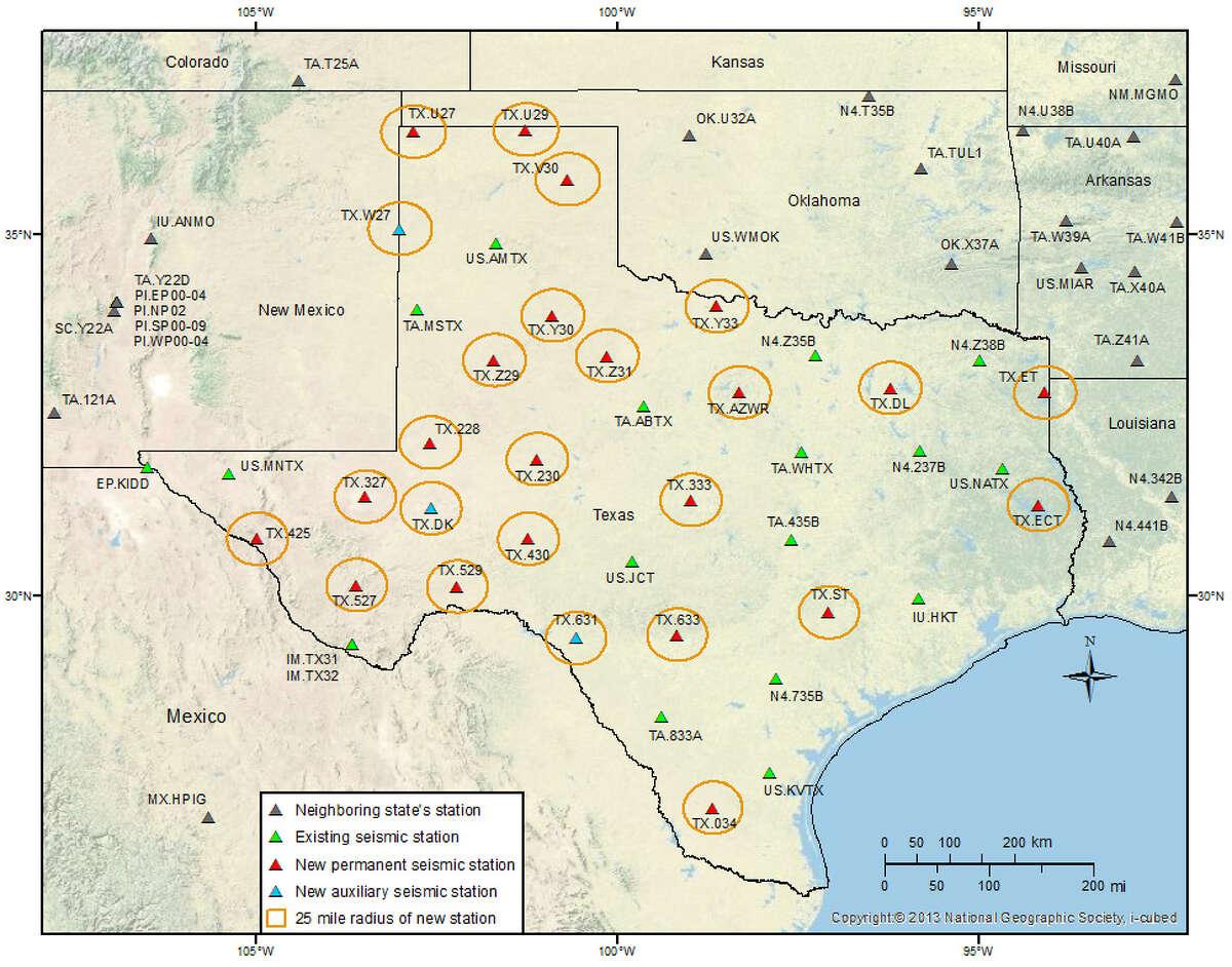 TexNet Seismic Monitoring monitoring stations map.