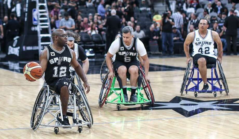 Charles Armstead (12) competes for the Spurs-sponsored wheelchair basketball team during a 2017 game at the AT&T Center. Photo: Courtesy Photo /San Antonio Spurs