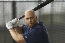 Houston Astros Carlos Beltran (15) hits in the batting cages during spring training at The Ballpark of the Palm Beaches, in West Palm Beach, Florida, Tuesday, February 21, 2017. ( Karen Warren / Houston Chronicle )