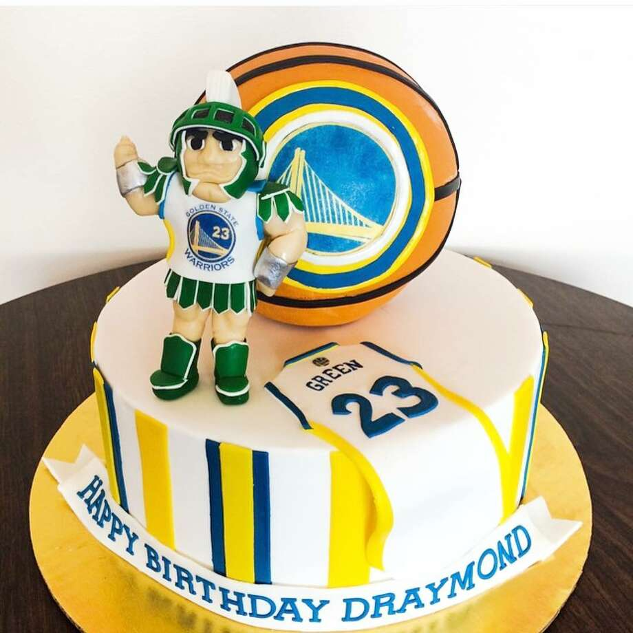 A cake made for Draymond Green's birthday, honoring both the Warriors and his college team, the Spartans. Photo: Pretty Please Bakeshop/Courtesy