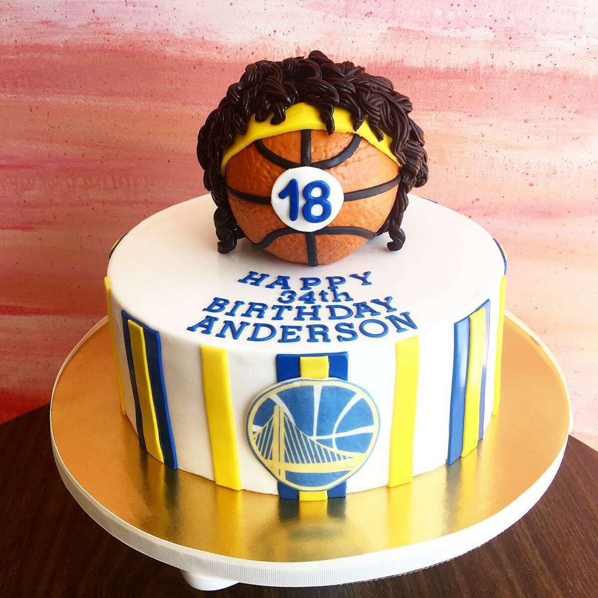 Anderson Varejao's birthday cake, complete with a mini mop of his signature hair.