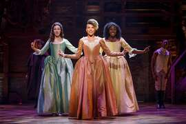 "Solea Pfeiffer, Emmy Raver-Lampman and Amber Iman in the national tour of ""Hamilton"" at SHN."