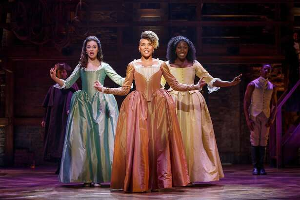 """Solea Pfeiffer, Emmy Raver-Lampman and Amber Iman in the national tour of """"Hamilton"""" at SHN."""