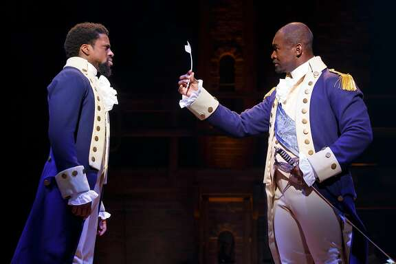 "Michael Luwoye and Isaiah Johnson in the national tour of ""Hamilton"" at SHN."