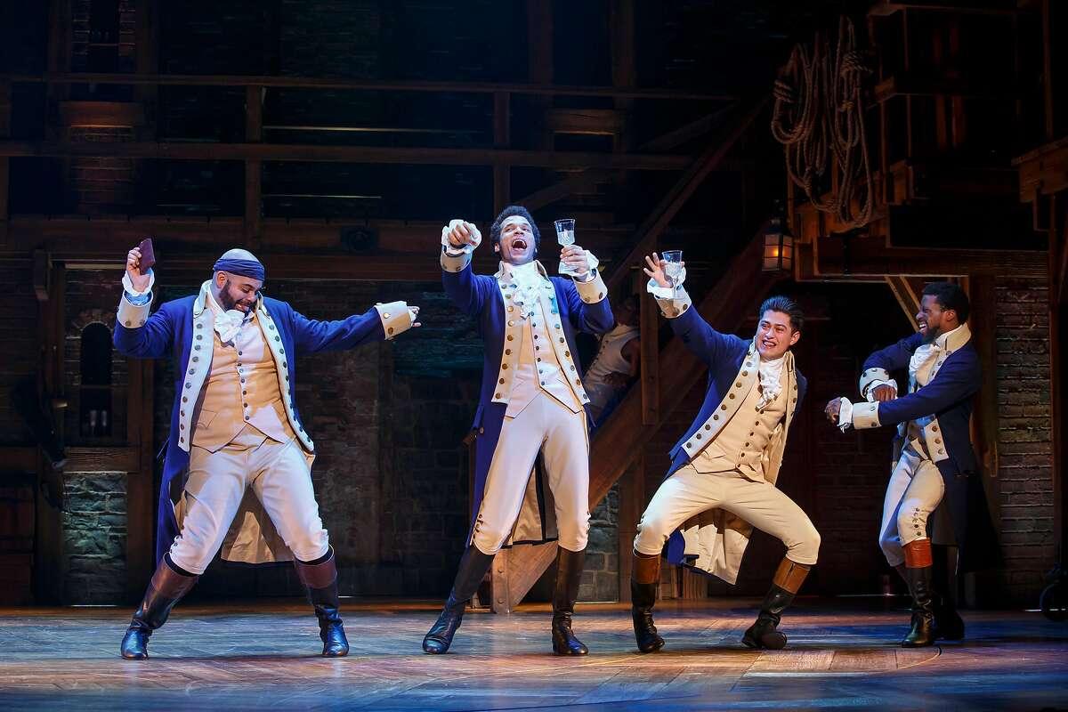 "Mathenee Treco, Jordan Donica, Ruben J. Carbajal and Michael Luwoye in the national tour of ""Hamilton"" at SHN."
