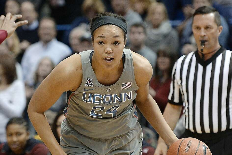 Connecticut's Napheesa Collier in the first half of an NCAA college basketball game, Wednesday, Feb. 22, 2017, in Hartford, Conn. (AP Photo/Jessica Hill)