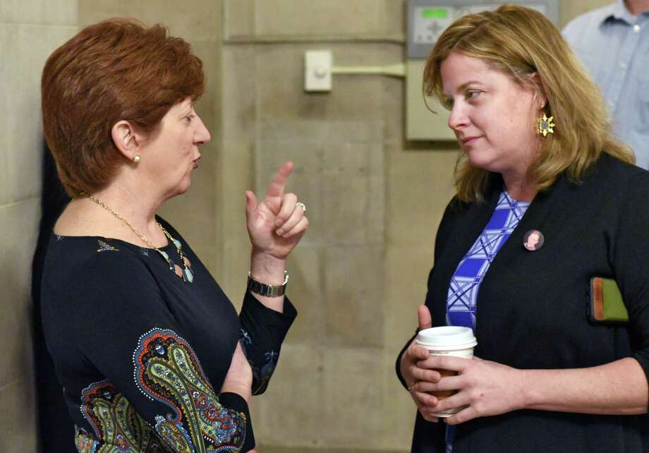 Mayor Kathy Sheehan, left, with commissioner of Administrative Services Rachel McEneny before a City Hall news conference outlining an advocacy campaign for Capital City Funding Thursday, Feb. 23, 2017 in Albany, NY.  (John Carl D'Annibale / Times Union) Photo: John Carl D'Annibale / 20039783A