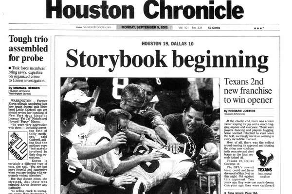 Houston Chronicle front page - September 9, 2002 - section A, page 1.. Storybook beginning. Texans 2nd new franchise to win opener