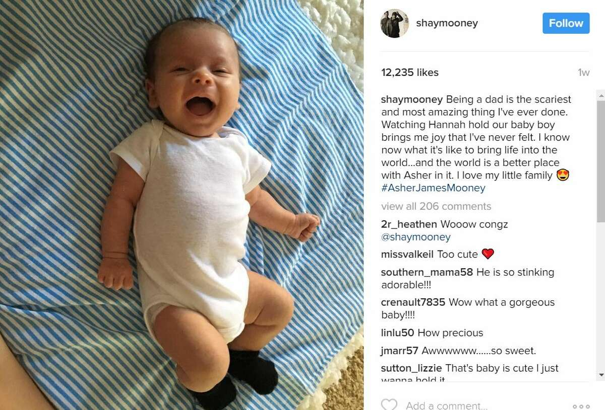 Recent trends in celebrity baby names Celebrity baby trend: Using James as a middle name. Shay Mooney and Hannah Billingsley Kid's name: Asher James Photo: Instagram