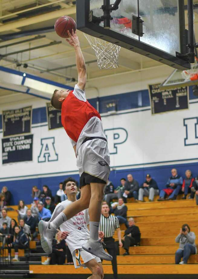 J.J. Pfohl of Trumbull goes in for a lay up during the FCIAC All-Star Basketball Game at Staples High School on March 23, 2017 in Westport, Connecticut. Photo: Gregory Vasil / For Hearst Connecticut Media / Connecticut Post Freelance