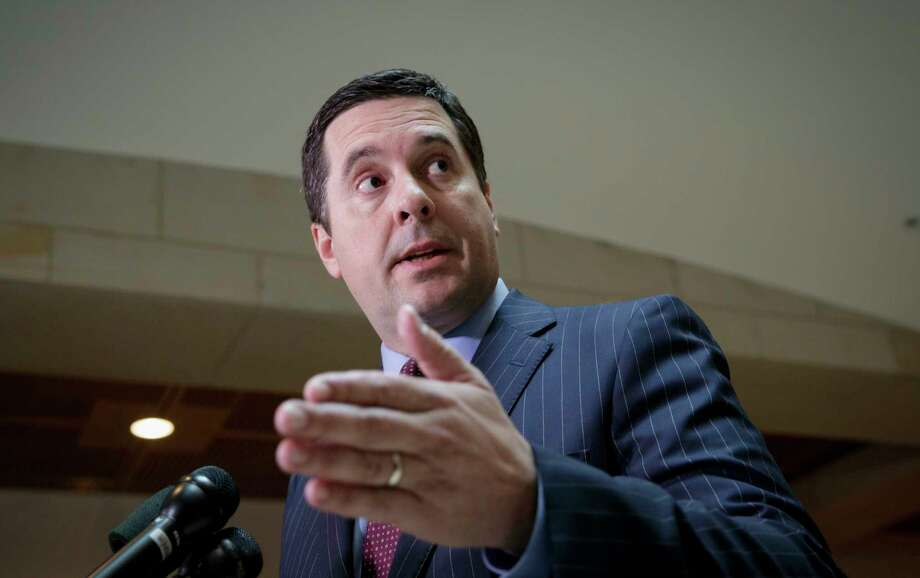 FILE - In this March 22, 2017, file photo, House Intelligence Committee Chairman Rep. Devin Nunes, R-Calif. speaks on Capitol Hill in Washington. Nunes privately apologized to his Democratic colleagues on Thursday, March 23, 2017, yet publicly defended his decision to openly discuss and brief President Donald Trump on typically secret intercepts that he says swept up communications of the president's transition team in the final days of the Obama administration. (AP Photo/J. Scott Applewhite, File) Photo: J. Scott Applewhite, STF / AP